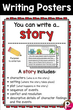 Writing Center Posters and Writing Paper Templates Great posters for any elementary classroom writing center! Help students learn the elements to writing stories. Comes with writing paper templates! Writing Posters, Writing Worksheets, Writing Activities, Writing Resources, Preschool Worksheets, Writing Ideas, Picture Writing Prompts, Narrative Writing, Writing Workshop