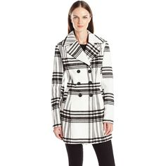 Byer California Women's Mega Plaid Double Breasted Peacoat ($77) ❤ liked on Polyvore featuring outerwear, coats, long coat, white coat, white pea coat, white peacoat and long white coat