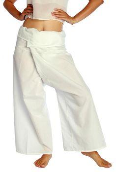 Amazon.com: Siam Secrets Unisex 100% Light Cotton Thai Fisherman Pants One-size White: Clothing