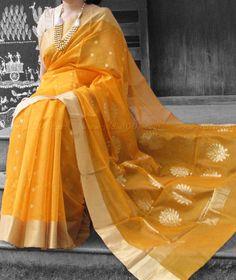 Designer Handcrafted Chanderi Saree #Chanderi #Sarees Organza Saree, Cotton Saree, Silk Sarees, Saris, Indian Attire, Indian Wear, Indian Dresses, Indian Outfits, Saree Models