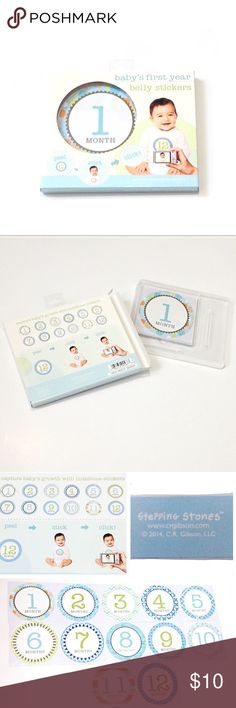 """Newborn Baby Belly Clothing Monthly Stickers 1 yr. NEW Baby Belly Clothing Stickers, so cute and fun to keep the first 12 months of your newborn milestones! • peel, stick, & click a photo! That easy! • each sticker is round and it is different, about 4"""", first year supply, one for each month kit • new in packaging • great for new moms & dads, baby shower gift idea, photography studios, photo shoots, grandmas, aunts... • God bless and happy poshing. Stepping Stones Accessories Jewelry"""