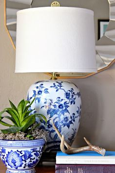 vintage blue and white Ethan Allen lamps