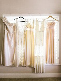 Bridesmaids Dresses in a range of ivory to blush pink. Turned out lovely! Here's a shot from the wedding: http://www.StyleMePretty.com/gallery/picture/1383250/ Photography: Ashley Kelemen