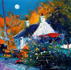 """""""Moonrise at Lochdon - Isle of Mull"""" John Lowrie Morrison Abstract Landscape, Impressionist Landscape, Landscape Paintings, Colorful Paintings, Acrylic Paintings, Impressionism Art, Jewish Art, Naive Art, Art Pictures"""