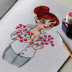 Jour 16: Ma toute petite contribution à Octobre Rose. Day 16: My little contribution to the Pink October. #illustration #pentel #ink #inktober #girl #woman #octobrerose #pinkoctober #parlonsen #rubanrose #cancerdusein #breastcancerawareness