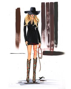 Cow girl fashion sketch by Houston fashion artist Rongrong DeVoe. More fashion illustrations at www.rongrongillustration.etsy.com