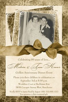 Fine gold 50th anniversary card uses classic styles to accent text & photo on vintage wedding anniversary invitation design. 50th anniversary invitation