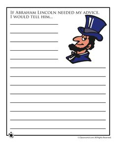 Three printable story starters for President's Day about Lincoln, Washington and running for president.