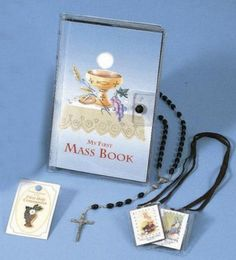 First Mass Book Vinyl Set. This Vinyl Wallet Set for boys includes a laminated scapular, enamel pin, and chain rosary, with a clear wallet holder! Catholic Books, Eucharist, Books Online, Enamel, Wallet, Chain, Boys, Baby Boys, Vitreous Enamel