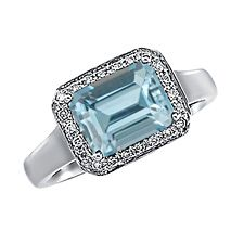 see details here:14K White Gold Ring With Genuine Aquamarine And Diamonds
