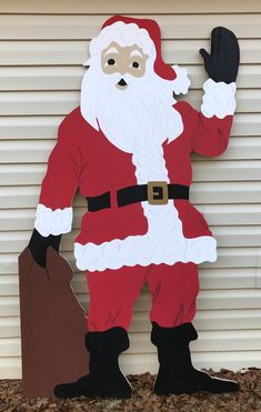 The perfect handmade yard art for your Christmas display! This Santa clause stan… The perfect handmade yard art for your Christmas display! This Santa clause stands 6 feet tall, cut from inch wood, hand painted and coated with weather protectant sealer. Christmas Yard Art, Christmas Wood Crafts, Christmas Love, Recycled Christmas Decorations, Santa Clause, Creations, Hand Painted, Outdoor Santa, India Online
