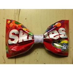 SKITTLES Recycled Candy Wrapper Hair Bow ($6.50) ❤ liked on Polyvore featuring accessories, hair accessories, hair bow accessories, white hair accessories, white hair bow, ribbon hair bows and hair bows