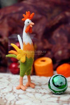 How To Make Crochet New Year Rooster Amigurumi Easter Crochet, Cute Crochet, Crochet Motif, Crochet Dolls, Crochet Flowers, Crochet Patterns, Chicken Pattern, Crochet Chicken, Easter Toys