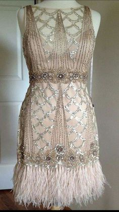 SUE WONG 1920s style Champagne Beaded Feather Evening Bridal Flapper Dress (From her 'Gatsby' collection)