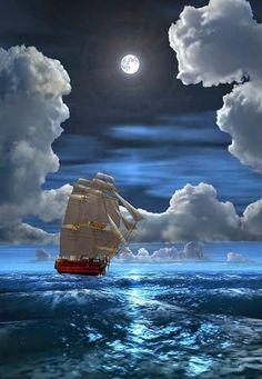 Sailing in the moonlight . Old Sailing Ships, Ship Paintings, Boat Art, Moon Pictures, Nautical Art, Beautiful Moon, Tug Boats, Ship Art, Tall Ships