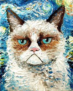 Grumpy Cat,in the style of Vincent Van Gogh's Starry Night. It was made by a New York Aritst who goes by the name Aja.