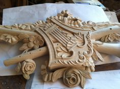 Completed hand carving for custom #453 musical instrument footboard. Designed & manufactured by Auffrance.
