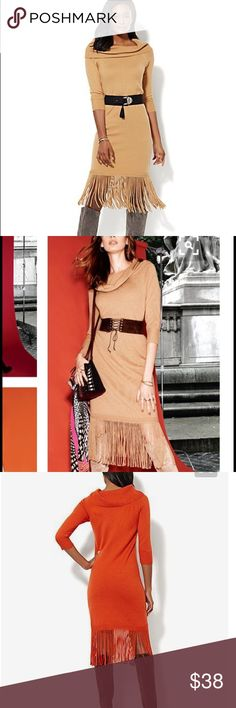 New York and Co. camel sweater dress. Worn once Camel colored fringe sweater dress. ONLY WORN ONCE New York & Company Dresses