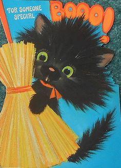 Vintage Black Cat Halloween Card