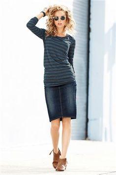 Inky Vintage Denim Pencil Skirt. Love it.