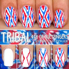 missladyfinger: 4TH OF JULYFINGERS: Tribal Reblog your favorite and click through for instructions! #4thofjulyfingers Here's what you'll need to create this look…