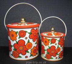 SOLD : Retro/Vintage Kitchenalia : Two Baret Ware (England) 'Flowertime' Supercrisp Biscuit Barrels