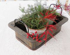 Vintage Wood and Metal Tray and Ceramic Pots by RosebudsOriginals, $39.00