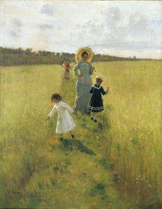 "Ilya Repin, ""On the Boundary Path (or V.A. Repina with Children Going on the Boundary Path),"" 1879."
