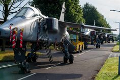 Jaguar aircraft, based at RAF Cosford being moved from the Aerosystems Engineer and Management Training School to the airfield. Air Force Aircraft, Fighter Aircraft, Fighter Jets, Post War Era, British Armed Forces, Experimental Aircraft, Training School, Air Planes, Royal Air Force