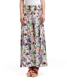 Another great find on #zulily! Purple & Black Cracked Floral O-Ring Maxi Skirt by Robert Louis #zulilyfinds