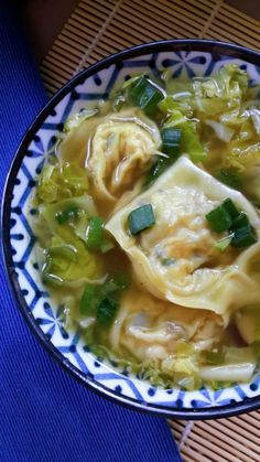Vegan Wonton Soup with Tofu and Shiitake Mushrroms