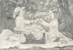 """Melody Vice- artist  Enchanted Tea Party  Graphite and Charcoal on paper  18""""x24"""" 2014"""