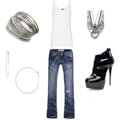 (Basic Denim and Silver. Polyvore.com) ....can't beat the Basics