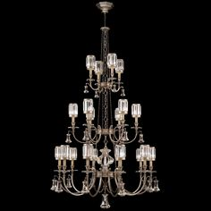 Fine Art Lamps 584840-2ST Eaton Place Silver 20 Light Chandelier In A Warm Muted Silver Leaf Finish With Faceted Channel Set Crystal Shades And Brilliant Pendant Accents