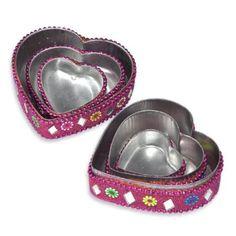 Girls Gift Heart Shape Jewelry Box Set of 3