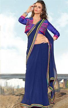 Picture of Pretty Blue Color Indian Designer Saree Online