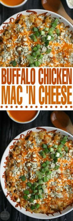 This incredible recipe for Buffalo Chicken Mac 'n Cheese is a gourmet macaroni and cheese filled with 3 different types of artisan cheese!