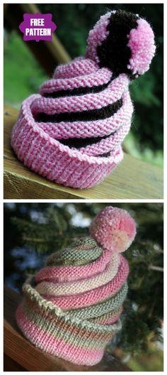 Knitting İdeas - Knit Swirled Ski Cap Free Knitting Patterns - My Popular Photo Knitting Designs, Knitting Patterns Free, Knit Patterns, Free Knitting, Free Pattern, Baby Hats Knitting, Loom Knitting, Knitted Hats, Crochet Hats