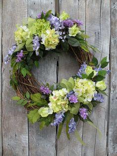 Spring wreath summer wreath front door wreath designer wreath hydrangea wreath home decorations Easter Wreaths, Holiday Wreaths, Yarn Wreaths, Mesh Wreaths, Spring Front Door Wreaths, Spring Wreaths, Corona Floral, Hydrangea Wreath, Green Hydrangea