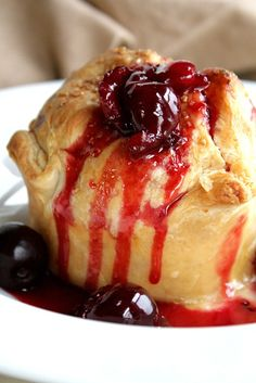 Peach Dumplings with Sweet Cherry Sauce - quick, easy, fresh ingredient dessert!