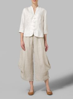MISSY Clothing - Linen Three Quarter Chinese Jacquard Blouse