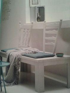Stoelen bankje! Te maken met rugleuningen van oude stoelen. Superleuk! Uit VT wonen oktober 2011