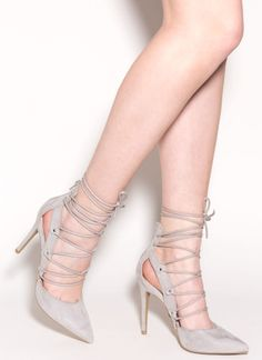 Lace Be In Love Pointy Faux Suede Heels  - GoJane.com