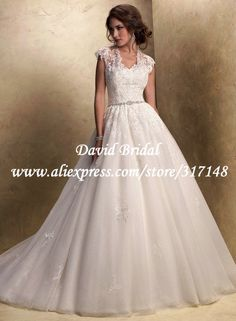 Lace Bridal Gowns with Cap Sleeves | ... Beaded Cap Sleeves Organza Lace Puffy Ball Gown Wedding Dresses 2013