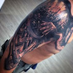 Awesome Grey Black Musical Tattoo For Men On Shoulders