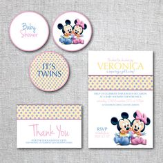 TWINS Baby Shower Invitation Set Mickey Mouse Baby Minnie Modern    Invitation, Thank You Card, And Cupcake Toppers   Printable, Digital
