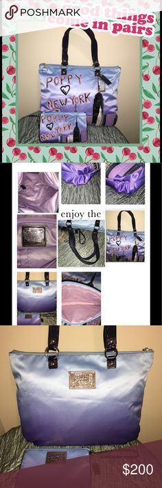 """""""RARE"""" Coach Poppy NYC Glam Tote & Wristlet """"LIKE NEW CONDITION"""".  Blue Purple Ombré with New York Skyline.  No damage or flaws to either piece.  Also has CORRECT HANG TAGS.   Sateen outside with lavender satin lining.  Deep navy blue patent leather straps.  Smoke free Coach Bags Totes"""