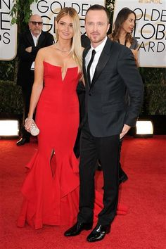 Aaron Paul and Lauren Parsekian attend the 71st annual Golden Globe Awards held at The Beverly Hilton Hotel in Beverly Hills, Calif., on Jan. 12, 2014.