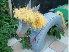 Cute horse made from old tire