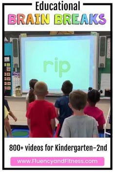 Fluency and Fitness is the BEST site to integrate brain breaks and academic skills! Brain Breaks For Kindergarten, Kindergarten Classroom Management, Kindergarten Literacy, Movement Activities, Preschool Learning Activities, Music Activities, Stem Activities, Brain Break Videos, Fun Brain